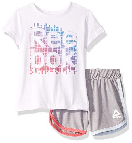 Reebok Girls' Little Sleeve Athletic T-Shirt and Pull-On Short Set, Rainbow Grid White, 6]()