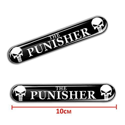 Skino 2 x 3D Gel Silicone Sticker Punisher Emblem Badge Logo Decal Tuning Auto Moto Car KS 109 ()