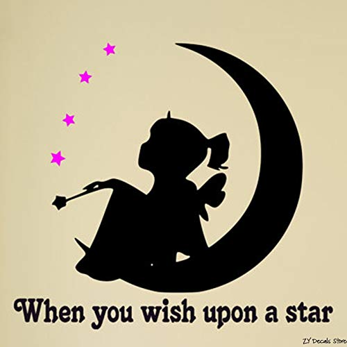 Etiqueta de la pared de cuento de hadas niña estrella y luna niña ...