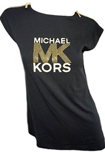 Michael Kors Womens Black Cap Sleeve Gold Zipper T Shirt MK Studded Logo - Kors Michael Top Gold