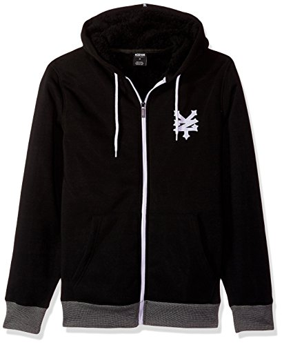 Zoo York Men's Cracker Core Sherpa Hoodie, Black, Large (Sherpa Drawstring Sweatshirt)