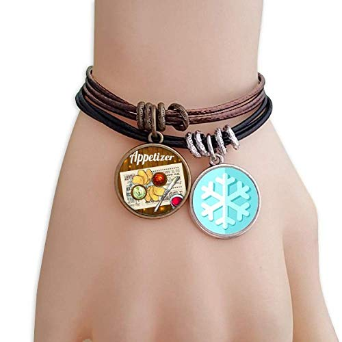 Appetizer Snowflake - DIYthinker Appetizer Slice of Bread Wine Christmas Snowflakes Leather Rope Bracelet