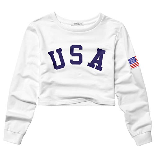 Perfashion Women's Cropped Tops White USA Flag Embroidery Long Sleeve Stripe Shirts Pullover Crew Neck -