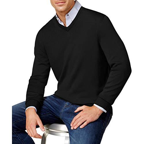 Club Room Men's Merino Wool Blend V Neck Pullover Sweater Deep Black Medium from Club Room