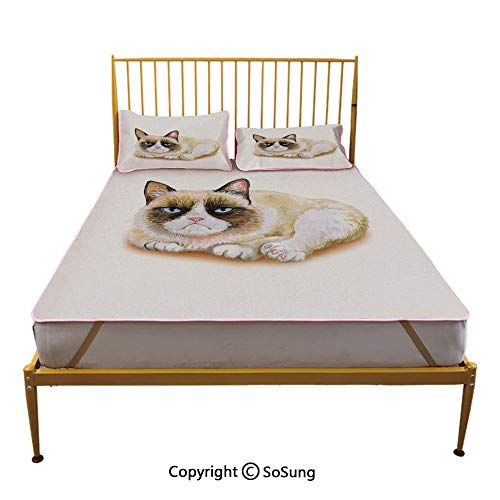 Animal Creative Queen Size Summer Cool Mat,Grumpy Siamese Cat Angry Paws Asian Kitten Moody Feline Fluffy Love Art Print Sleeping & Play Cool Mat,Brown and Beige ()