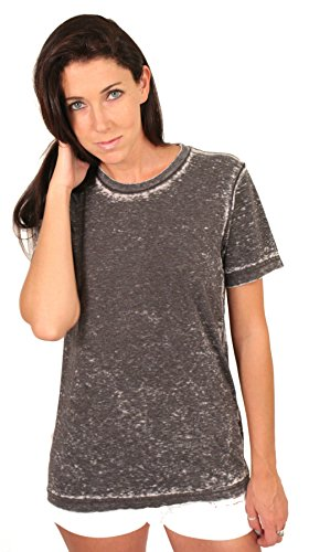(Bella + Canvas Burn Out Crewneck T-Shirts (Small, Grey))