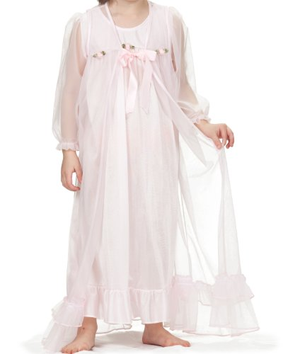 Laura Dare Little Girls Pink Long Sleeve Peignoir Nightgown w Scrunchie, 3T -