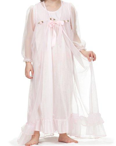 Laura Dare Big Girls Pink Long Sleeve Peignoir Nightgown w Scrunchie, 14