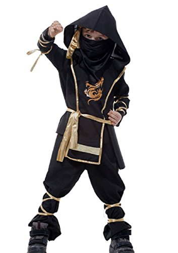 Cheap Samurai Costumes (MANEMEKA.JP Kids Japanese Ninja Style Costume [ M / L sizu 7item Full Set With Sword ] Cute Cosplay (Large))