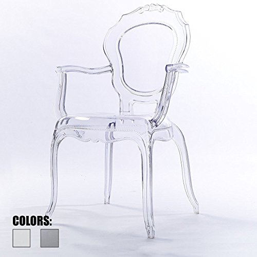 - 2xhome Clear Modern Ghost Chair Armchair Vanity Dining Room Lounge Crystal Molded Mirrored Furniture Desk Vanity Dining Chairs with Arms Armchair Accent Desk Work Living Room Office Work No Wheels
