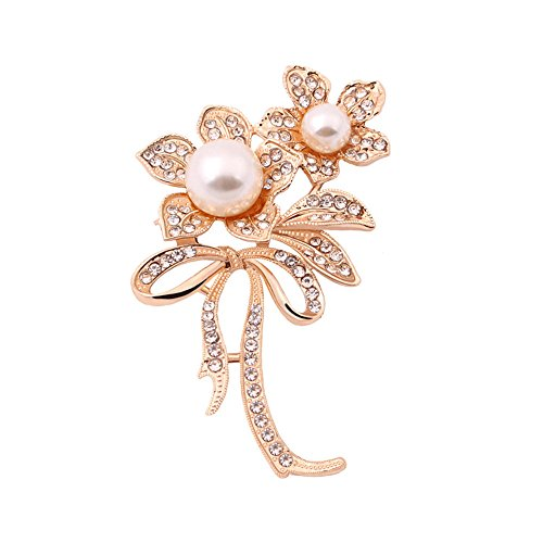 Winter's Secret Twin Flower White Bowknot Brooch Diamond Accented Fashion - Online Glasses Rolf