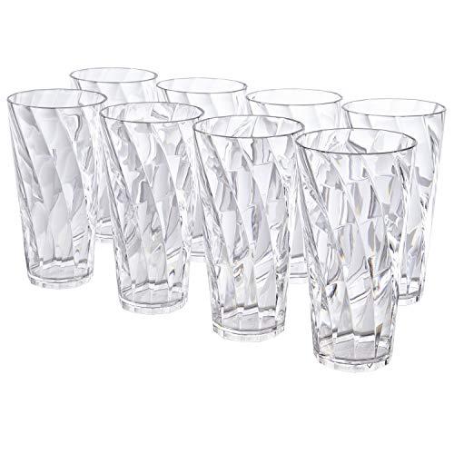 Mets Plastic Tumblers - Optix 26-ounce Clear Plastic Cups, Set of 8