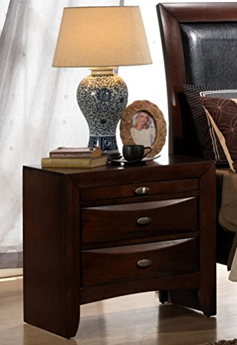 Roundhill Furniture Emily 111 Contemporary Solid Wood Construction Night Stand, King, Merlot ()