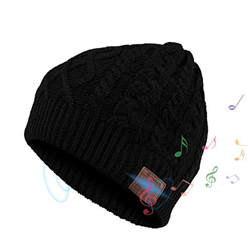 Bluetooth Beanie Hat, Elegant Choise Wireless V4.2 Music Beanie Hat Headphone Cap with Stereo Speaker Headphone Mic Rechargeable USB Winter Hat for Outdoor Sports, Skiing, Running (Black)