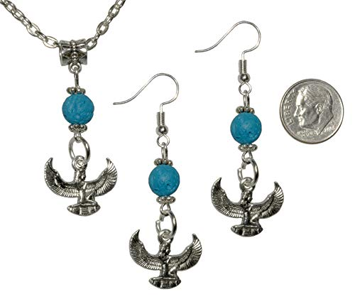 (Set, Egyptian Isis Silver Colored Charm with Turquoise Lava Pendant and Earring + FREE CHAIN+FREE GIFT BAG)