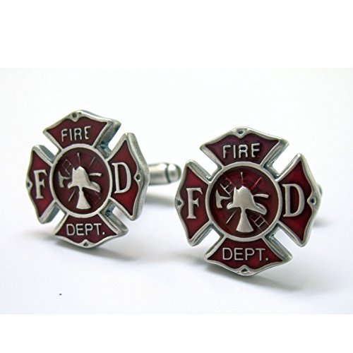 Williams & Clark Mens Executive Silver Tone and Red Enamel Fireman Fire Department Emergency Cufflinks Cuff Links