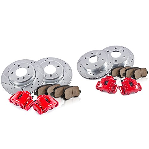 FRONT + REAR Powder Coated Red [4] Calipers + [4] Rotors + Quiet Low Dust [8] Ceramic Pads Performance Kit ()