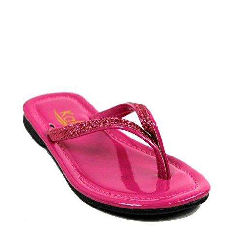 Kali Footwear Girls Focus Jr. Patent Flip Flop Flat Glitter Sandals, Hot Pink (Toddler Hot Pink Footwear)