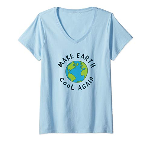 Womens Make The Earth Cool Again Climate Change V-Neck T-Shirt