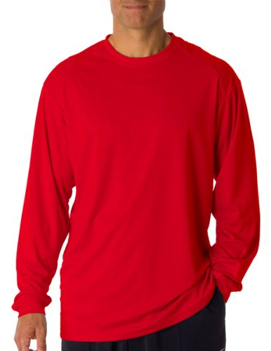 Badger Sportswear Men's B-Dry Long Sleeve Tee, Red, X-Large