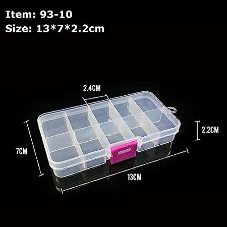 NO LOGO HWW-YUJUX, 10 Ranuras Ajustable Pesca Caja de plástico de 15 Rejillas de Gancho señuelo trastos de Pesca Caso Caja de Almacenamiento portátil píldora joyería Multifuncional (Color : 10 grids): Amazon.es: Hogar