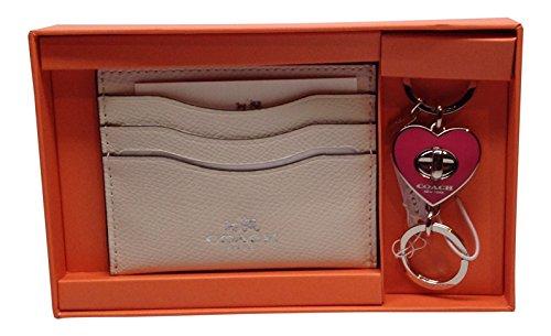 Coach F66088 White Chalk Card Case & Dhalia Pink Heart Key Chain Fob Box Set