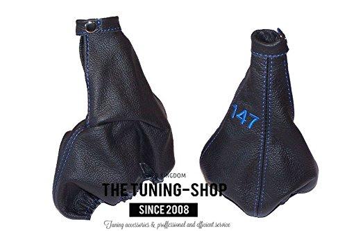 Per Alfa Romeo 147/2005/ /10/Gear e freno a mano nero pelle italiana blu logo