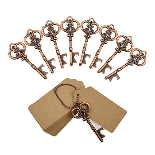 - DerBlue 60 PCS Bottle Openers Wedding Favors Rustic Decoration with Escort Tag Card (Crown-bronze)