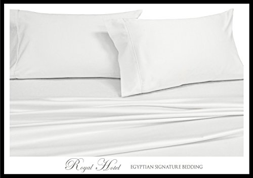 Royal Hotel's Solid White 1000-Thread-Count Super-Deep 4pc King Bed Sheet Set 100-Percent Cotton, Sateen Solid, Extra Deep Pocket - Extra Deep Pocket Bed Sheets
