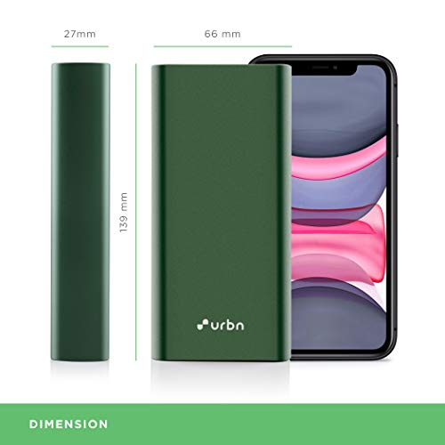 URBN 20000 mAh Metal 18W Super Fast Charging Power Bank with 18W Type C PD (Input& Output) and QC 3.0 Dual USB Output (Green)