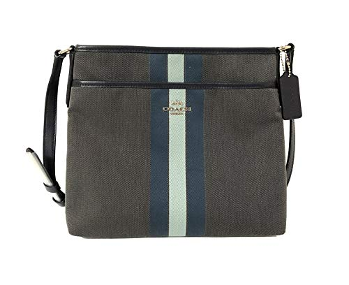 (Coach File Crossbody In Signature Jacquard With Varsity Stripe Light Midnight Blue)
