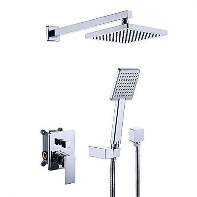 KES Shower System Bathroom Single Handle Shower Faucet Trim Valve Body Hand Shower Complete Kit Pressure Balance Modern Square, Polished Chrome, XB6223