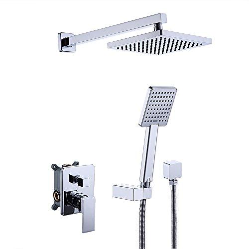 Npt Lavatory Supply (KES Shower System Bathroom Single Handle Shower Faucet Trim Valve Body Hand Shower Complete Kit Pressure Balance Modern Square, Polished Chrome, XB6223)