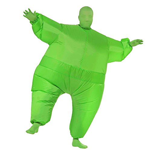 Funny Green Man Costumes (Inflatable Costume Full Body Jumpsuit Cosplay Funny Blow Up Party Adult Clothing (Green))