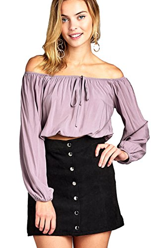Khanomak Elasticized Off-The-Shoulder Self Tie Neckline Long Sleeve Crop Top (Small, Dusty Lilac) by Khanomak