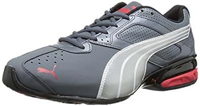 PUMA Men's Tazon 5 Cross-Training Shoe, Turbulence/PUMA Silver/Red, 6.5 M US