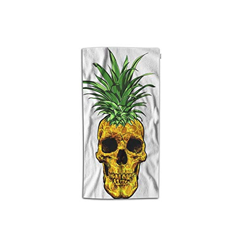 (Moslion Skull Hand Towel Cartoon Fruit Pineapple Skeleton Leaves Apply to Halloween Towel Soft Microfiber Face Hand Towel Kitchen Bathroom for Kids Baby Men 15x30 Inch Yellow)