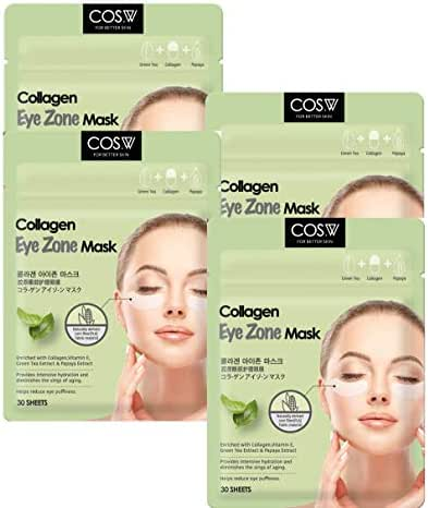 COS.W Smoothing Collagen Eye Pads(4 Pack of 30 Sheets) with Vitamin E for Dark Circles and Puffiness (120 Count)