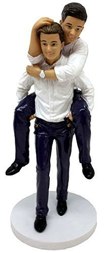 December Diamonds Wedding Figurine - Grooms ''Piggyback'' Male Couple
