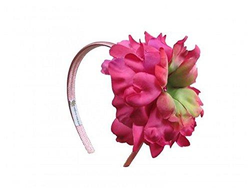 Jamie Rae Hats Candy Pink Hard Headband with Raspberry Large Peony, One Size