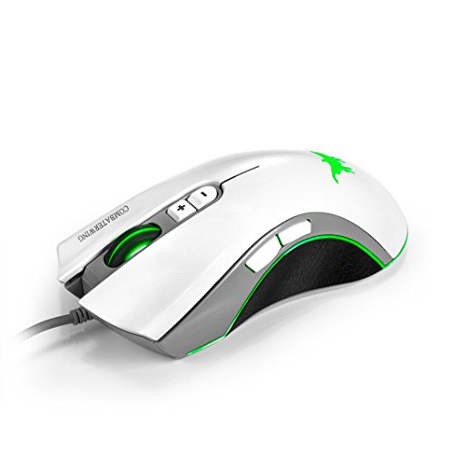 Cywulin 4800DPI 6 Adjustable LeveL 6 Button LED backlignts Optical Wired Professional Ergonomic Design Gaming Mouse for PC,Laptop, Notebook, Desktop, Tablet by Combaterwing