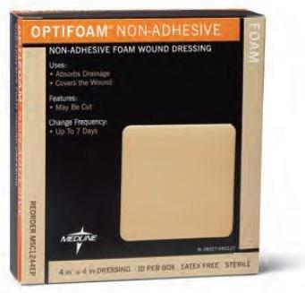 MSC1244EP Medline Optifoam Non-Adhesive Foam Dressing 4
