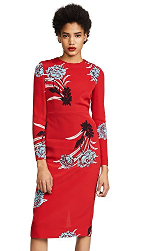 Diane von Furstenberg Women's Crew Neck Tailored Dress, Farren Lipstick, 8