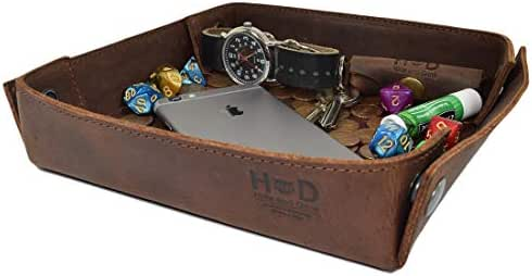 Hide & Drink, Leather Catchall Change Keys Coins Jewels Box Tray Big Storage Handmade Includes 101 Year Warranty :: Bourbon Brown