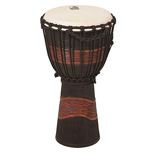 Toca TSSDJ-LB Street Series Rope Tuned Wood Djembe, Small - Brown and Black Stain ()