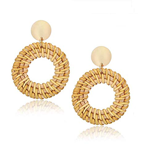 Rattan Earrings for Women Handmade Straw Wicker Braid Drop Dangle Earrings Lightweight Geometric Statement Earrings (circle-A-brown)