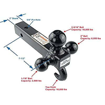 TOPTOW 64181L Trailer Receiver Hitch Triple Ball Mount with Hook, Black Balls, with Lock, Fits for 2 inch Receiver: Automotive