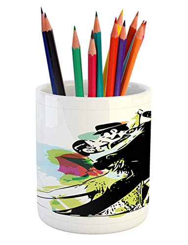 Lunarable Dance Pencil Pen Holder, Abstract Art Illustration of Latino Dancing Couple in Costumes Ballroom Performance, Printed Ceramic Pencil Pen Holder for Desk Office Accessory, -