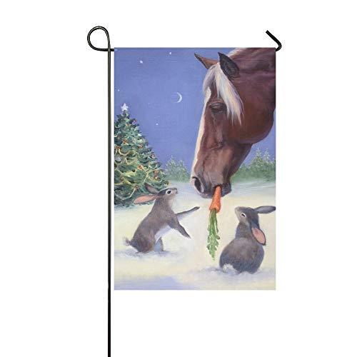 Eat Carrots - Mark Reynolds Garden Flag Christmas Horse Eat Carrot with Rabbit House Flag Decoration Double Sided Flag 12.5