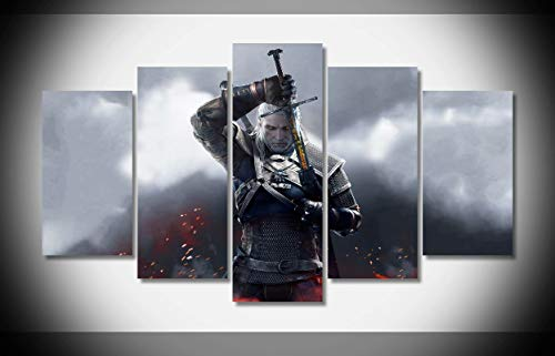 Canvas Deco 5pcs The Witcher 3 Warrior Sword Canvas Print Wall Art Work for Home Decorations Wall Decor
